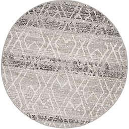 Safavieh Adirondack Geometric 6-Foot Round Area Rug in Silver