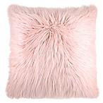 Flokati Faux Fur European Throw Pillow in Dusty Blush