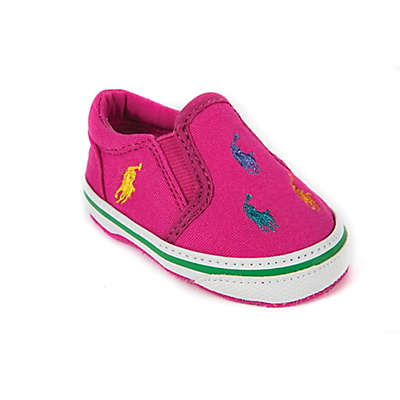 Ralph Lauren Layette Slip-On Shoe in Pink with Multi-Colored Ponies
