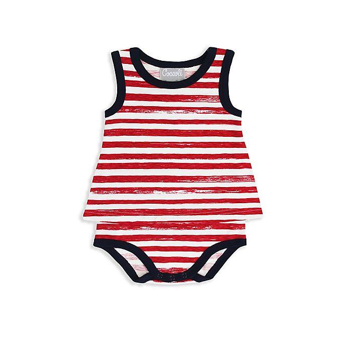 Alternate image 1 for Coccoli Carnival in Venice Sleeveless Baby Doll Bodysuit in Red Stripe