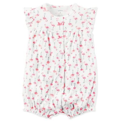 61946e083938 carter s® Flutter Sleeve Pink Flamingo Snap-Front Romper in White ...