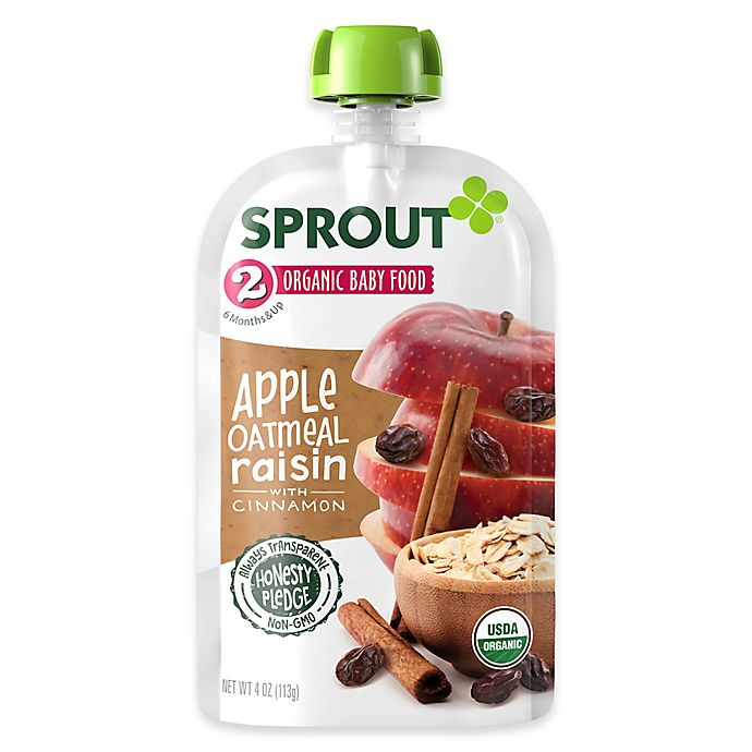 Alternate image 1 for Sprout® 4-Ounce Stage 2 Organic Baby Food in Apple, Cinnamon and Oatmeal