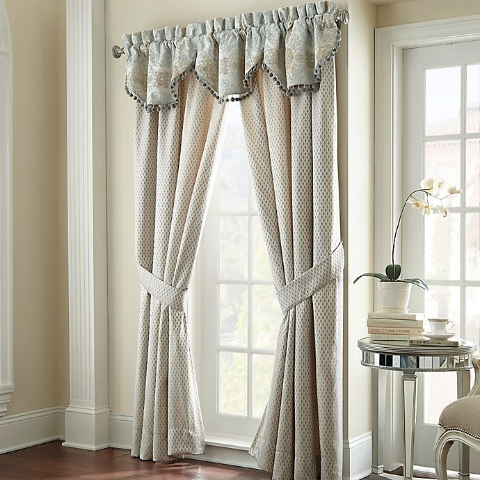 Alternate image 1 for Waterford® Linens Jonet 84-Inch Window Curtain Panel Pair in Cream/Blue