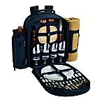 Picnic at Ascot Chevron Collection 4-Person Picnic Backpack with Blanket in Navy/White