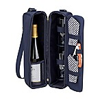 Picnic at Ascot Sunset Wine Tote for 2 with Glasses in Navy