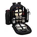 Picnic At Ascot™ Bold Picnic and Coffee Backpack with Service For 2 in Black