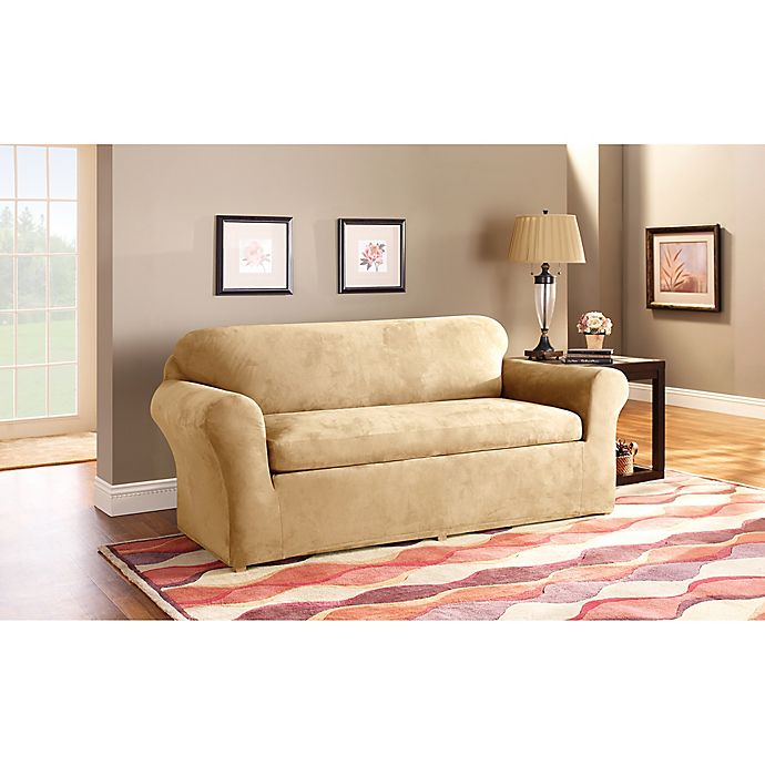 Alternate image 1 for Sure Fit® Stretch Suede 3-Piece Sofa Slipcover in Camel