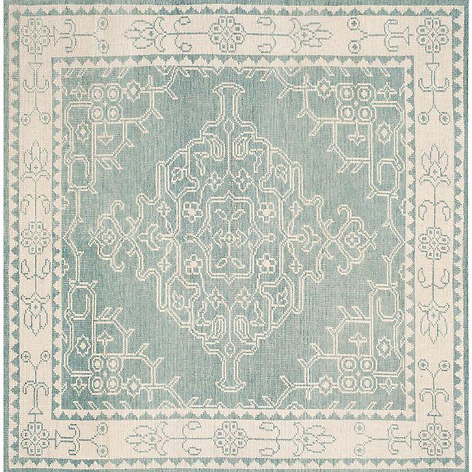 Alternate image 1 for Safavieh Kenya Bordered Floral 7-Foot Square Area Rug in Ivory/Blue
