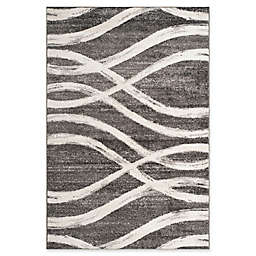 Safavieh Adirondack Curved Lines Rug in Charcoal/Ivory