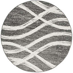 Safavieh Adirondack Curved Lines 8-Foot Round Area Rug in Charcoal/Ivory