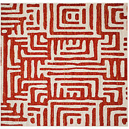 Safavieh Amsterdam Geometric 6-Foot 7-Inch Square Area Rug in Terracotta