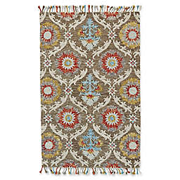 Feizy Bromeliad 5' x 8' Area Rug in Brick/Taupe