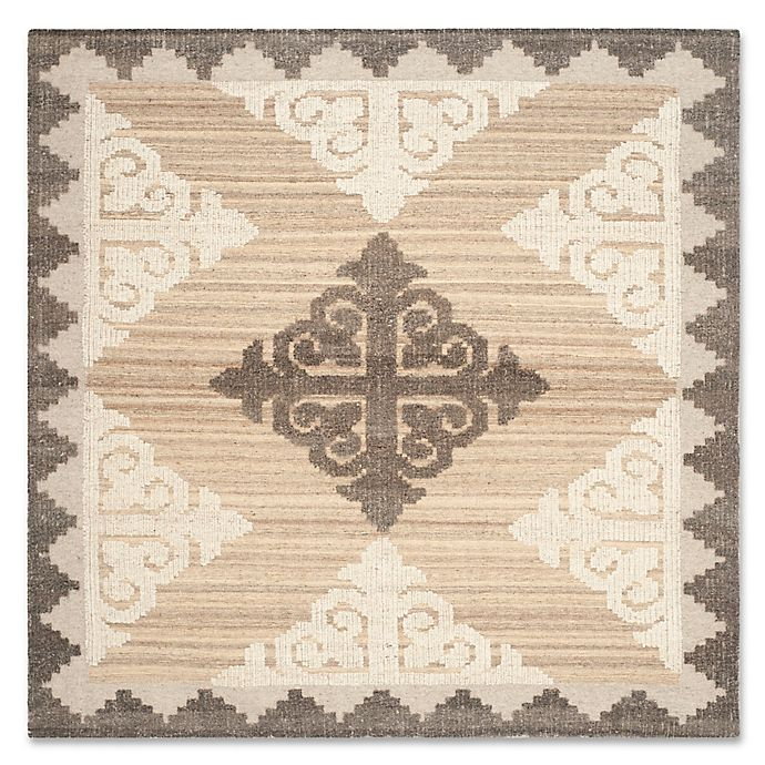 Alternate image 1 for Safavieh Kenya Damask 7-Foot Square Area Rug in Brown/Charcoal