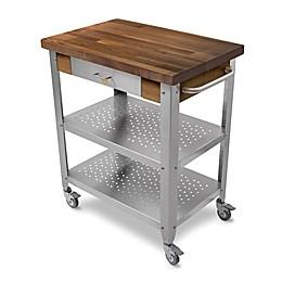 John Boos Walnut Wood Top Kitchen Cart in Stainless Steel