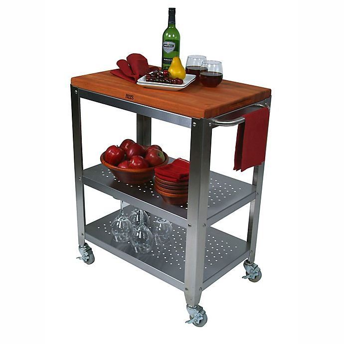 John Boos Culinarte Cherry Wood Top Kitchen Cart   Bed Bath ...