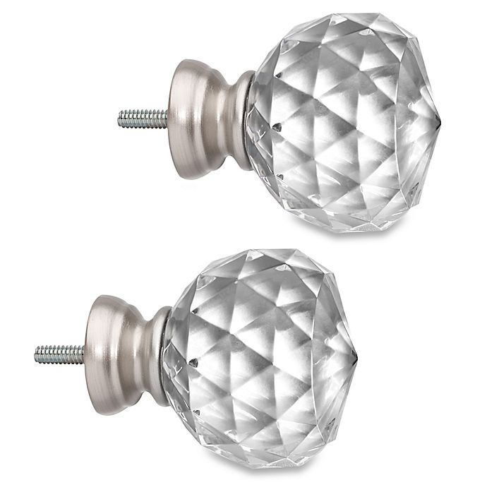 Alternate image 1 for Cambria® Premier Complete Faceted Ball Finials in Polished Nickel (Set of 2)
