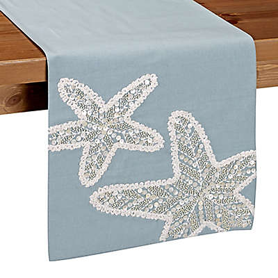 Beaded Starfish Table Runner in Blue