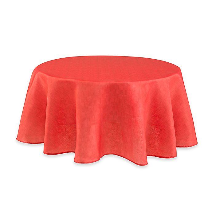 Alternate image 1 for Mason 70-Inch Round Umbrella Tablecloth in Coral