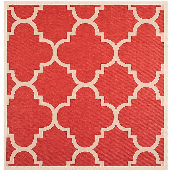 Alternate image 1 for Safavieh Courtyard Quatrefoil 6-Foot 7-Inch Square Indoor/Outdoor Area Rug in Red