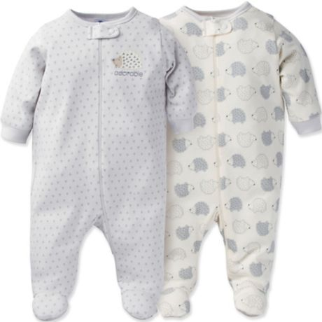 8c2283182 Gerber® Onesies® Brand 2-Pack Zip-Front Organic Cotton Hedgehog ...