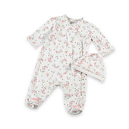 Little Me® Size Newborn Vintage Rose Footie with Cap