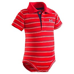 Under Armour® Stripe Polo Bodysuit in Red