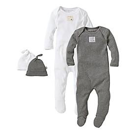 Burt's Bees Baby® 2-Pack Footie Pajama with Hat in Grey