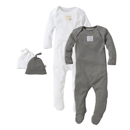 Alternate image 1 for Burt's Bees Baby® 2-Pack Footie Pajama with Hat in Grey