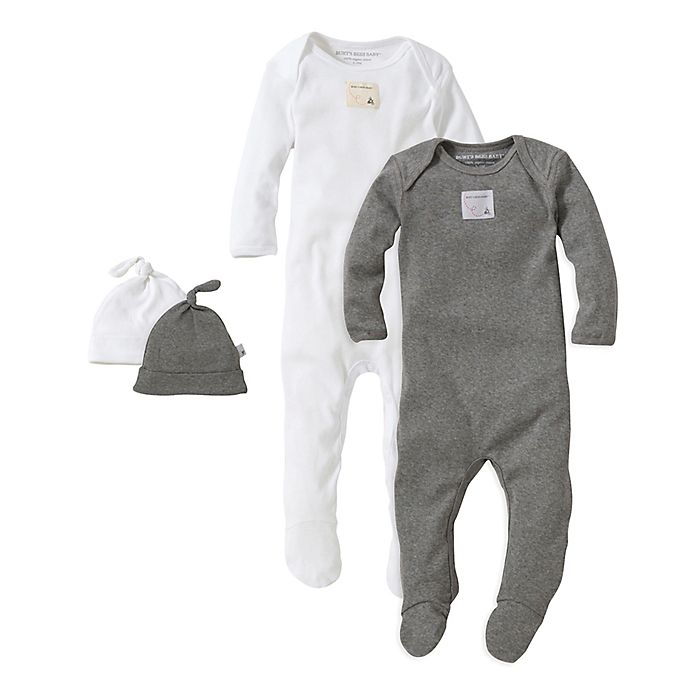 ce9e9f68807 Burt's Bees Baby® 2-Pack Footie Pajama with Hat in Grey | Bed Bath ...