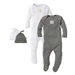 Burt's Bees Baby® Size 9M 2-Pack Footie Pajama with Hat in Grey