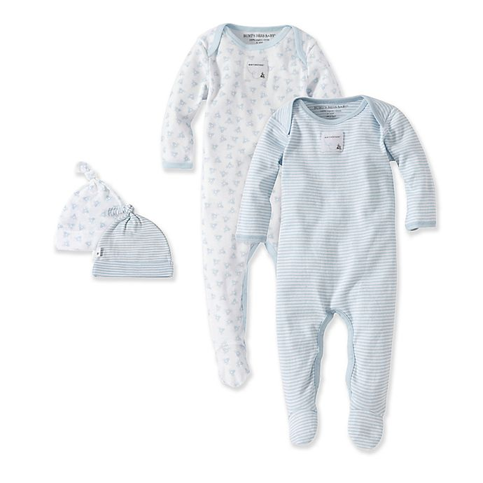 a61cb9d61 Burt's Bees Baby® Blue & Bee 2-Pack Footie Pajama with Hat in Blue ...