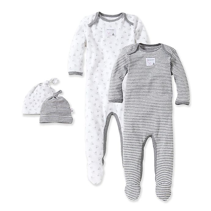 512bdfcaf350 Burt s Bees Baby® Grey   Bee 2-Pack Footie Pajama with Hat in Grey ...