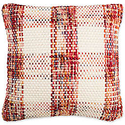 Safavieh Woven Plaid Square Throw Pillow in Christmas Red