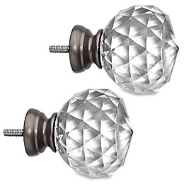 Cambria® Premier Complete Faceted Ball Finials in Graphite (Set of 2)