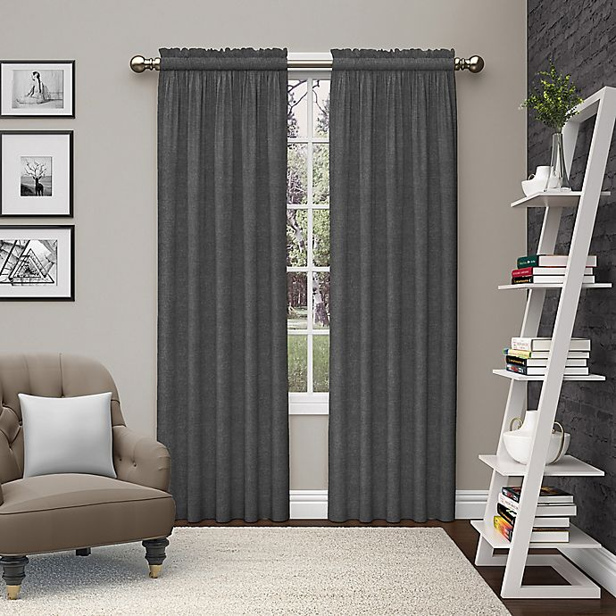 Alternate image 1 for Pairs to Go™ Teller 84-Inch Rod Pocket Window Curtain Panel Pair in Smoke