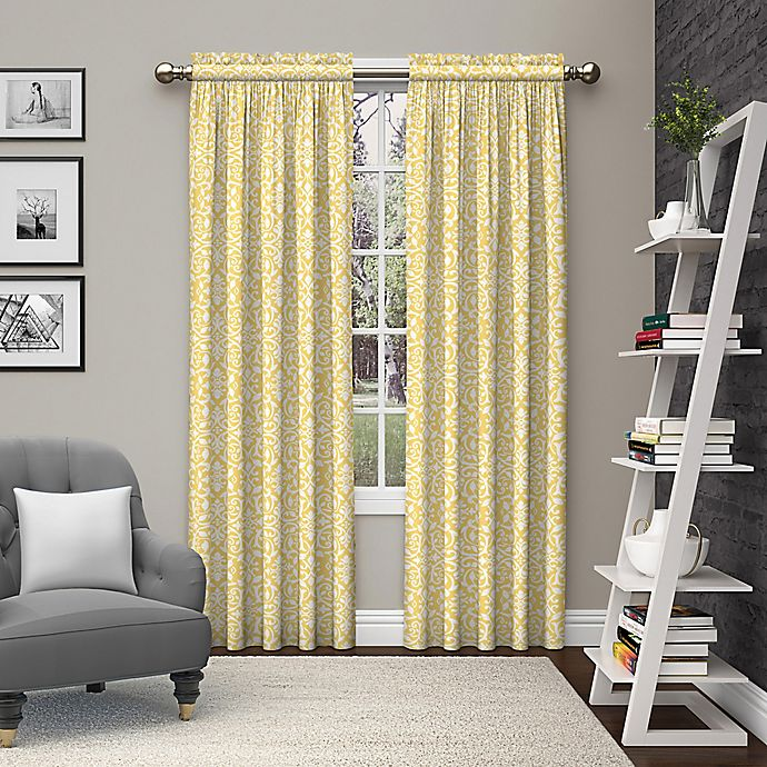 Alternate image 1 for Pairs to Go™ Pinkney 84-Inch Rod Pocket Window Curtain Panel Pair in Yellow