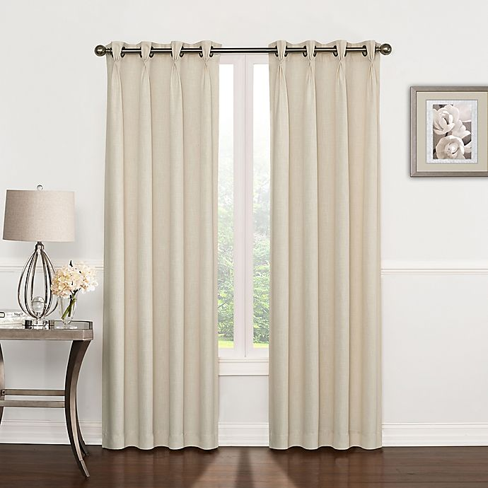 Alternate image 1 for Riverstone Pinch Pleat 63-Inch Grommet Top Window Curtain Panel in Ivory