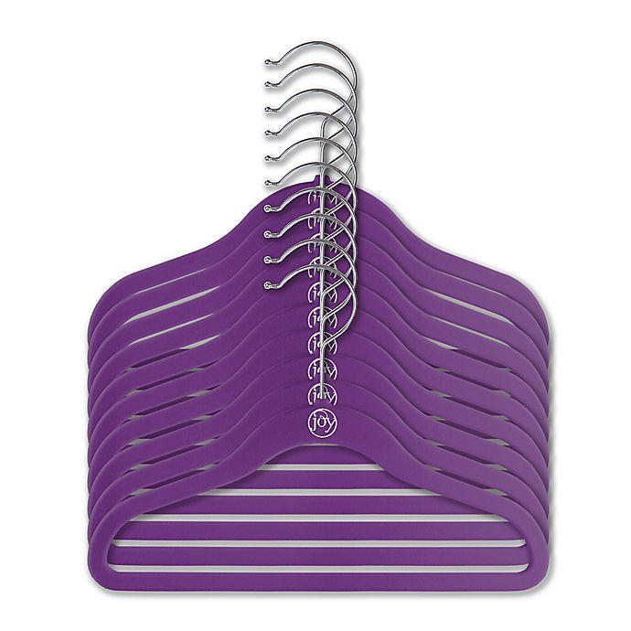 Alternate image 1 for Joy Mangano Huggable Hangers® 10-Piece Kids Suit Hangers in Purple
