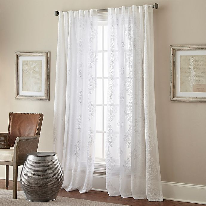 Alternate image 1 for Talia Rod Pocket/Back Tab Sheer Window Curtain Panel in White