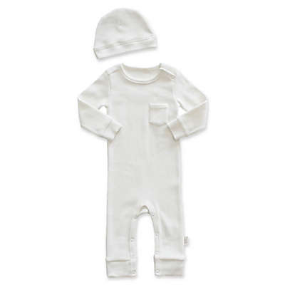 Planet Cotton® 2-Piece Thermal Coverall and Cap Set in Ivory