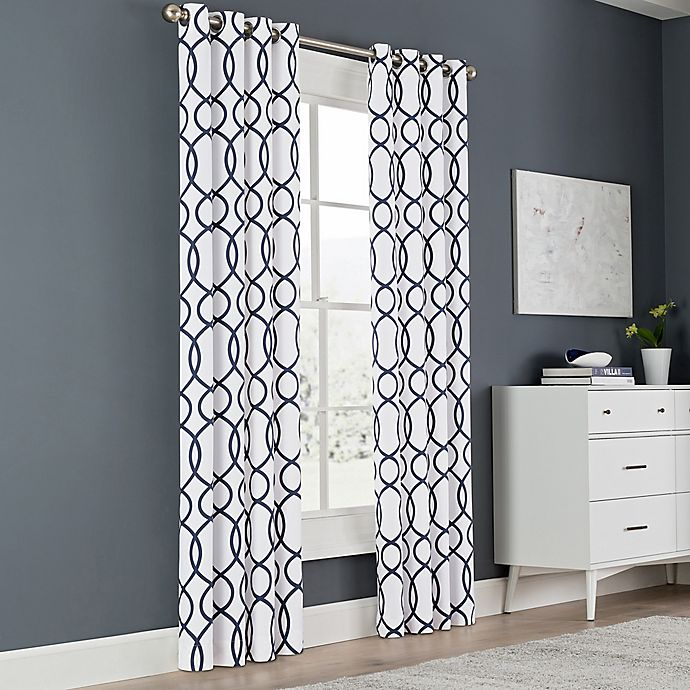 Alternate image 1 for Newport Wave 63-Inch Light-Filtering Grommet Top Window Curtain Panel in Peacoat