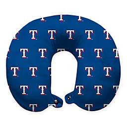 MLB Texas Rangers Plush Microfiber Travel Pillow with Snap Closure