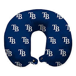 MLB Tampa Bay Rays Plush Microfiber Travel Pillow with Snap Closure