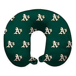 MLB Oakland A's Plush Microfiber Travel Pillow with Snap Closure
