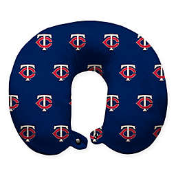 MLB Minnesota Twins Plush Microfiber Travel Pillow with Snap Closure