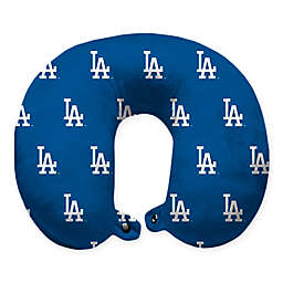 MLB Los Angeles Dodgers Plush Microfiber Travel Pillow with Snap Closure