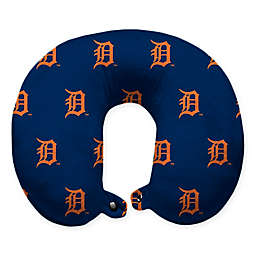 MLB Detroit Tigers Plush Microfiber Travel Pillow with Snap Closure