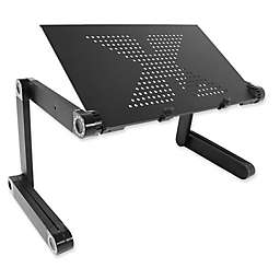 Flex Desk Plastic Adjustable Height Portable Desk in Black