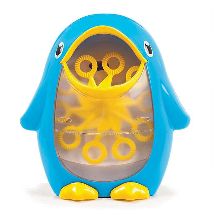 Alternate image 1 for Munchkin® Penguin Bath Bubble Blower in Blue