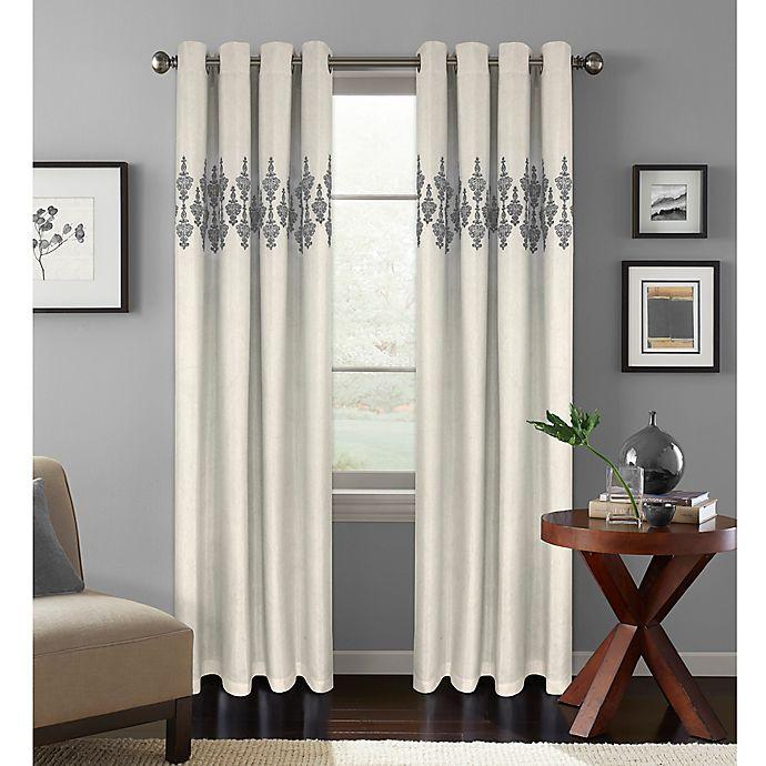 Alternate image 1 for Colordrift Jade 108-Inch Room Darkening Grommet Top Window Curtain Panel in Platinum
